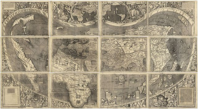 "Waldseemüller map  from 1507 is the first map to include the name ""America"" and the first to depict the Americas as separate from Asia. There is only one surviving copy of the map, which was purchased by the  Library of Congress  in 2001 for $10 million."