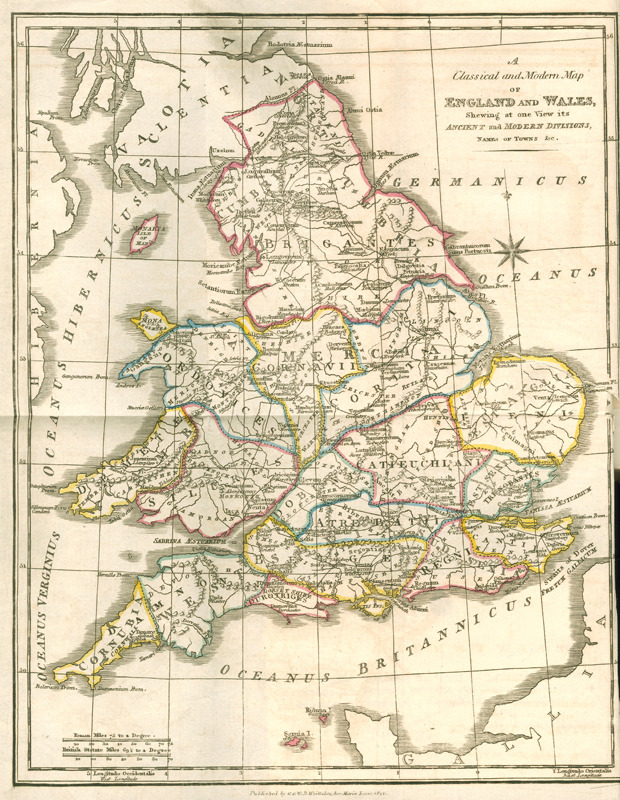 Engraved map entitled 'A Classical and modern map of England and Wales showing at one view its ancient and modern divisions, names of towns etc.' The scale is in Roman miles and British statute miles. The map appears at the front of 'Pinnock's improved edition of Dr. Goldsmith's abridgment of the History of England : from the invasion of Julius Caesar to the death of George II . 17th ed. London : Printed for G. and W.B. Whittaker , 1821.   (UoNMSC,   LT210.DA/G6,  Briggs Collection of Educational Literature). Click through to access the catalogue record.