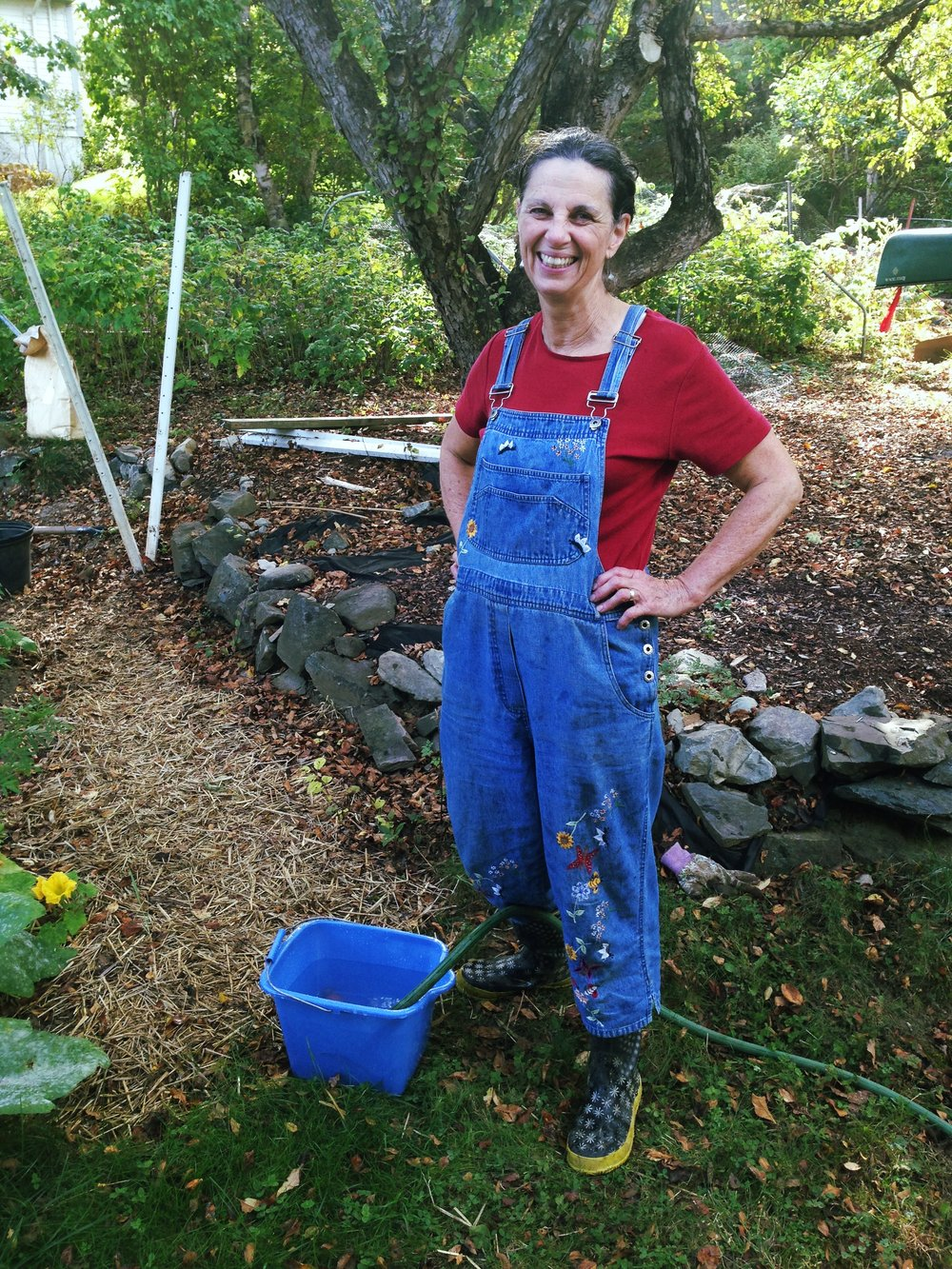 my Mum working in the garden - isn't she the cutest?