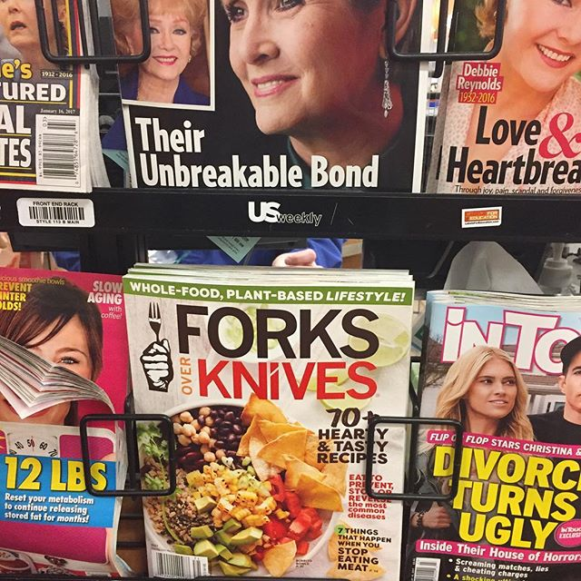 Glad to see forks over knives in the checkout line at my local grocer! #plantbased #veganuary #vegan #forksoverknives