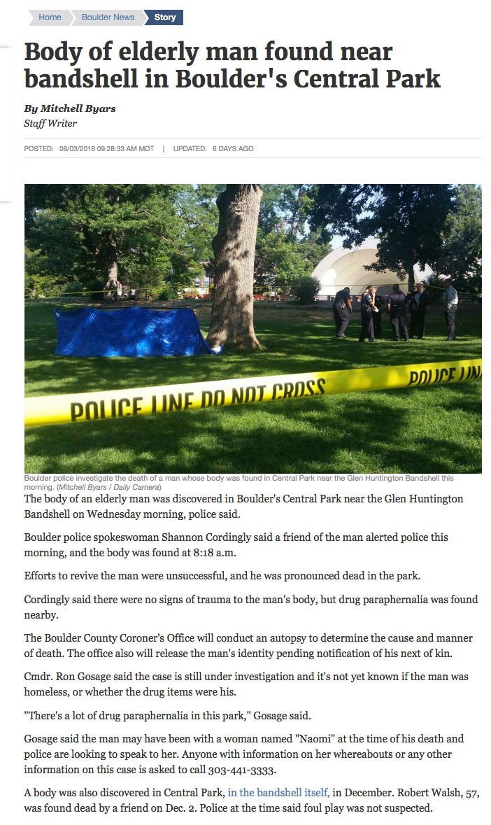 NOTE: Cmdr Ron Gosage of Boulder PD noted the amount of drug paraphernalia in the park. Where is the Council outrage?? What happens when a kid steps on a needle? Or worse...