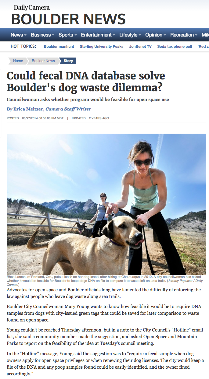 Councilman Mary Young engaged city staff resources to study and evaluate using DNA testing to track dogs that poop in the open space, but apparently does not see or smell the human fecal mess that has proliferated in downtown Boulder park lands.