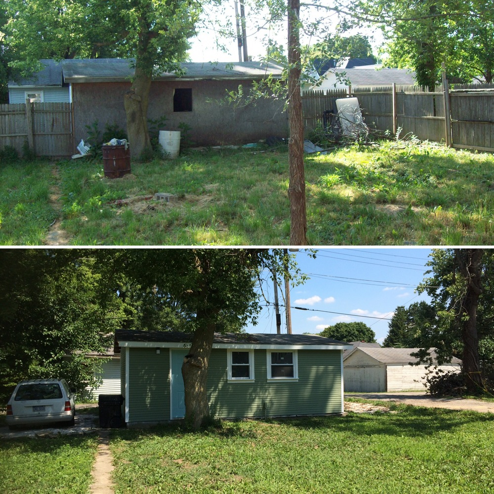 Before and After of the garage at Heartland House, otherwise known as Base Camp.
