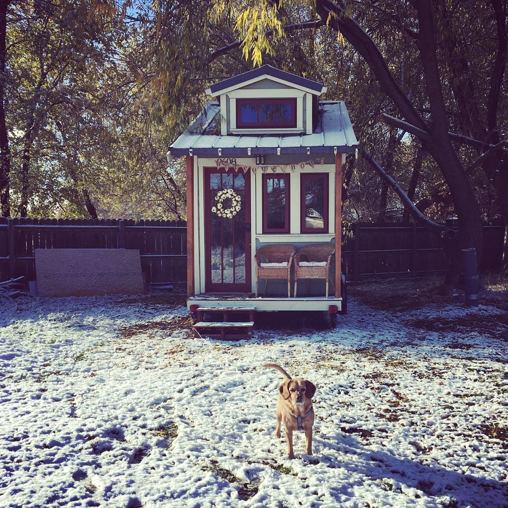 The first snow of the year and our first snow in the Linden tiny house.