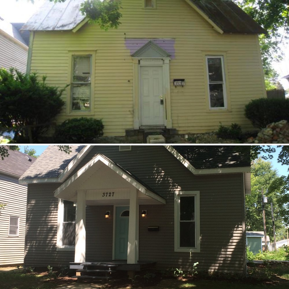 Heartland House before and after - the top is June of 2012, when I purchased the house for just $7,000. Bottom is July 2016, when the house went on the market for $79,900.