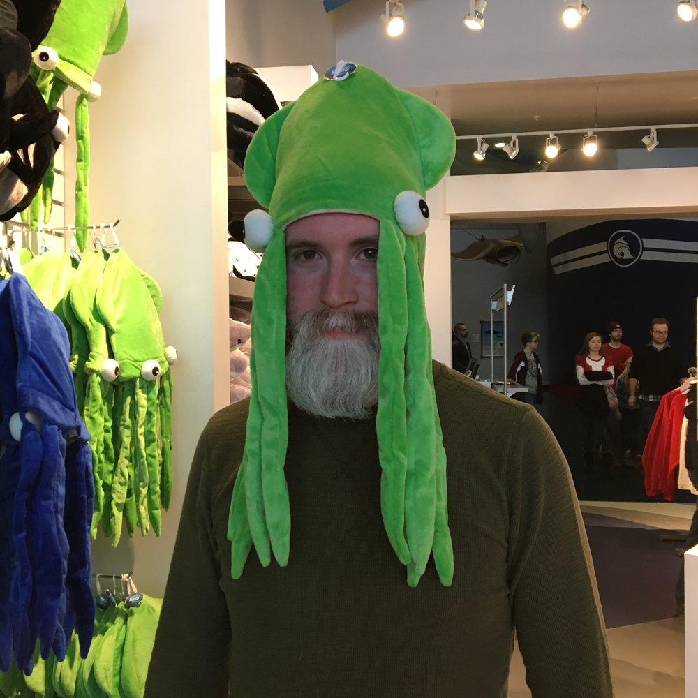 Squid-Dan at the Salt Lake Aquarium on Christmas Eve.