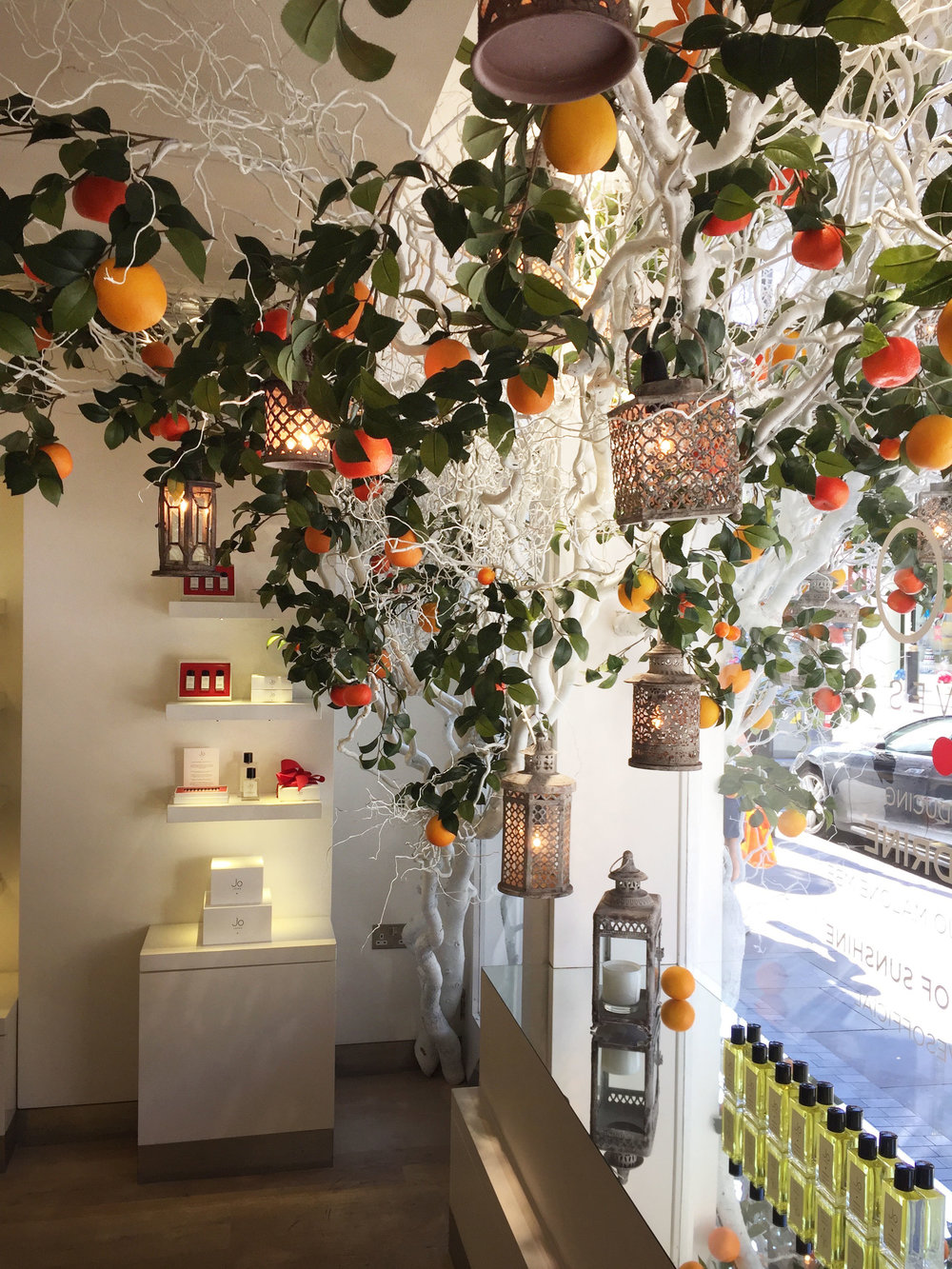 The Mandrine tree is bedecked with oranges and orange foliage. Hanging from the tree is an array of Moorish style lanterns providing warm and subtle lighting.