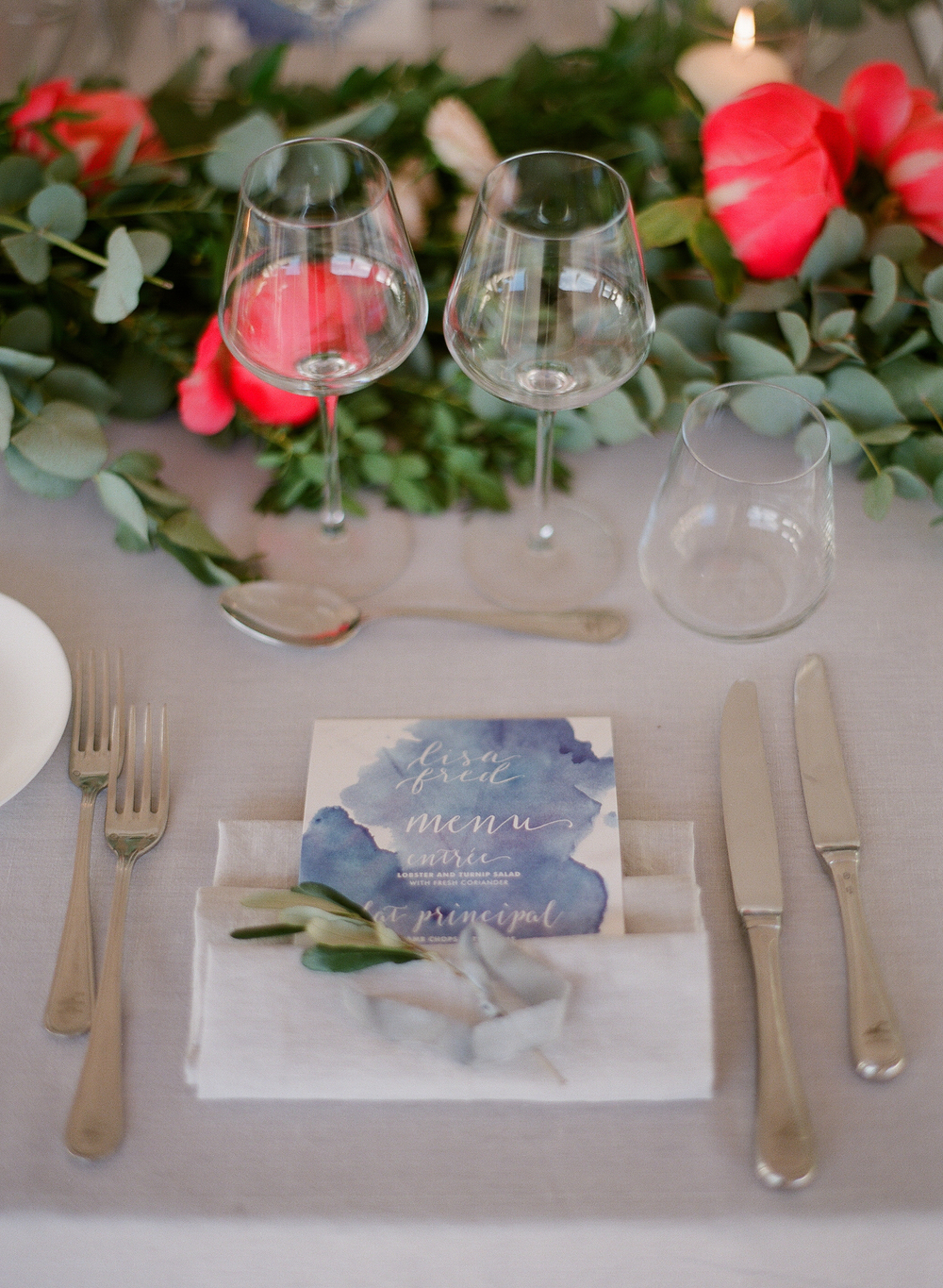 7. Place Setting with Personalized Watercolor Menu and Olive Sprig Tied with Hand-Dyed Silk Ribbon.jpg