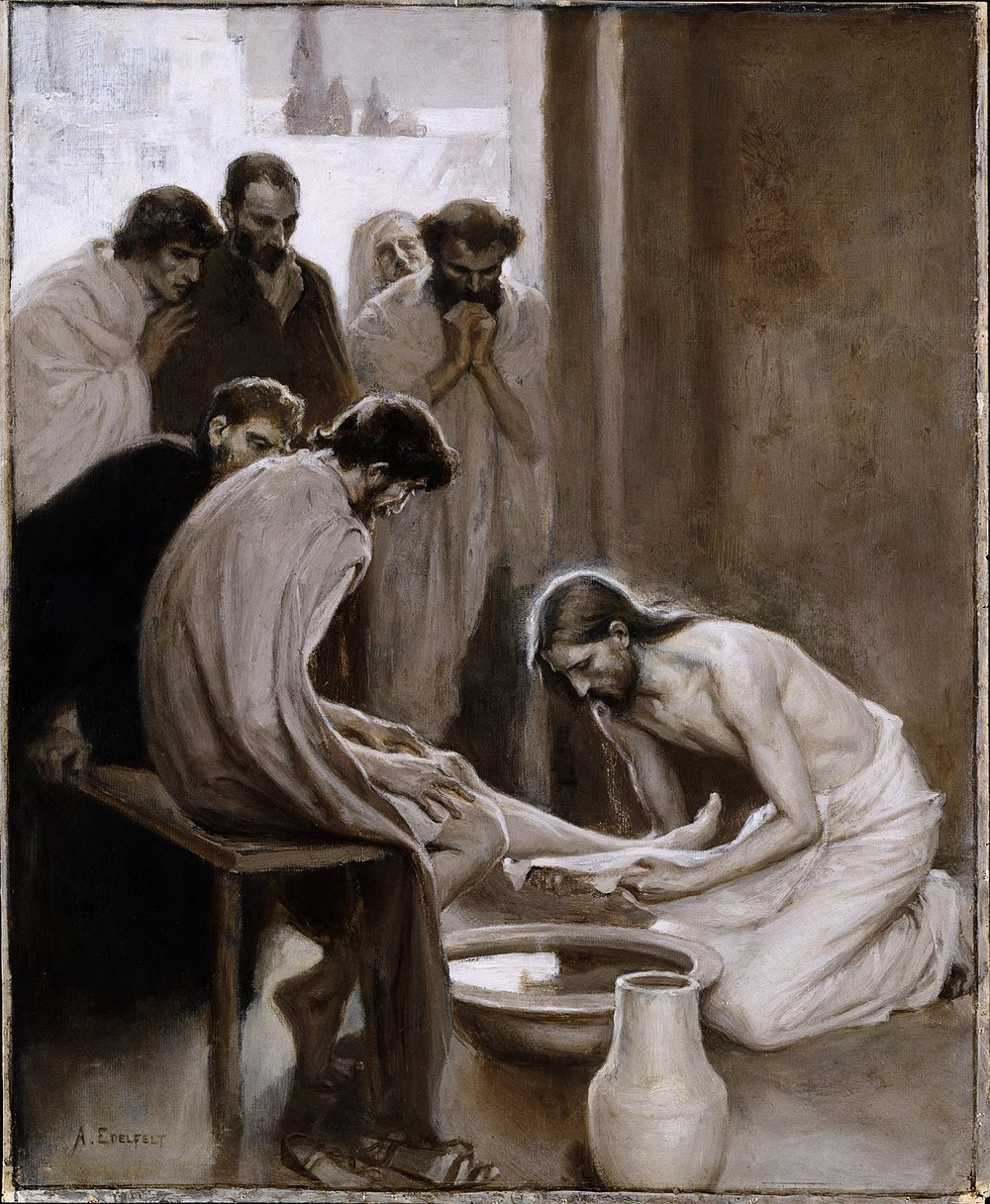 Jesus Washing the Feet of his Disciples (Albert Edelfelt) - Nationalmuseum - 18677  | Wikimedia Commons, Public Domain