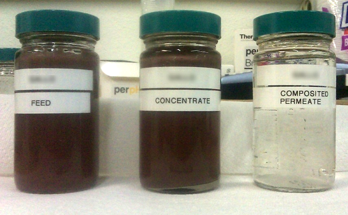 Feed (left), Concentrate (center), and Permeate (right)
