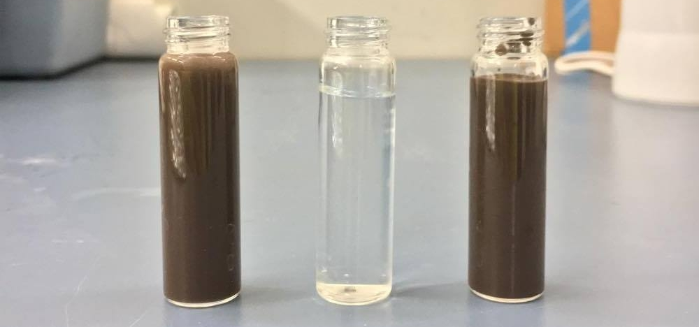 Feed (left), permeate (middle), concentrate (right)