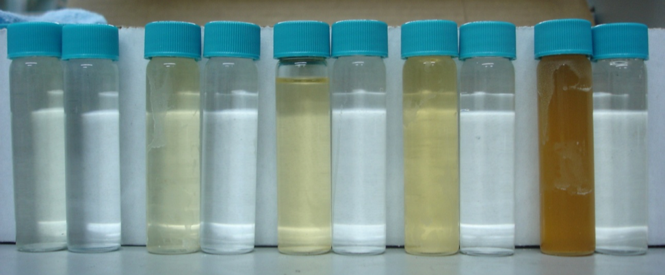 Concentrate (left) and Permeate (right) at recovery intervals 20%, 40%, 60%, 80%, 95%, respectively.