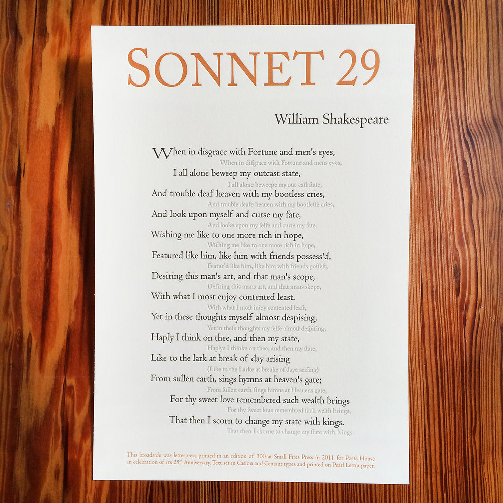 Sonnet 29 - William Shakespeare - Letterpress - Broadside.jpg