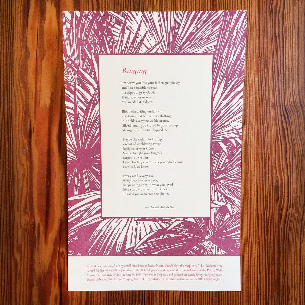 Naomi Shihab Nye - Ringing - Letterpress Broadside.jpg