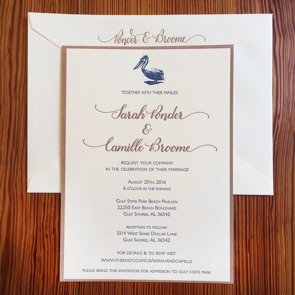 2 custom print small fires press pelican wedding invitationg stopboris Choice Image