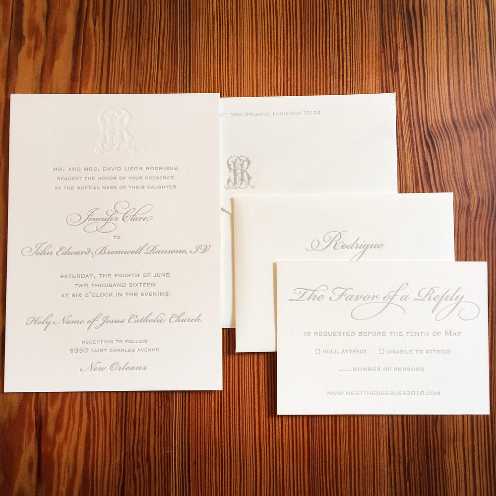 2 custom print small fires press rodrigue invitation suite blind stamp monogramg stopboris Choice Image