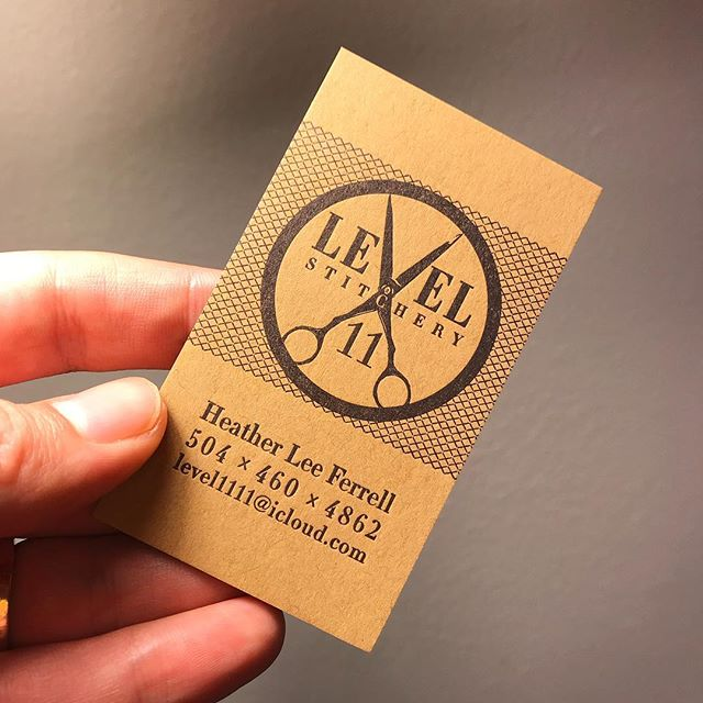 We did so many print projects in 2018 we forgot to share most of them - I'll start catching up on photographing them with this Level 11 card designed by @louviere.and.vanessa / black ink on kraft cover stock.  #letterpress #kraft #businesscard