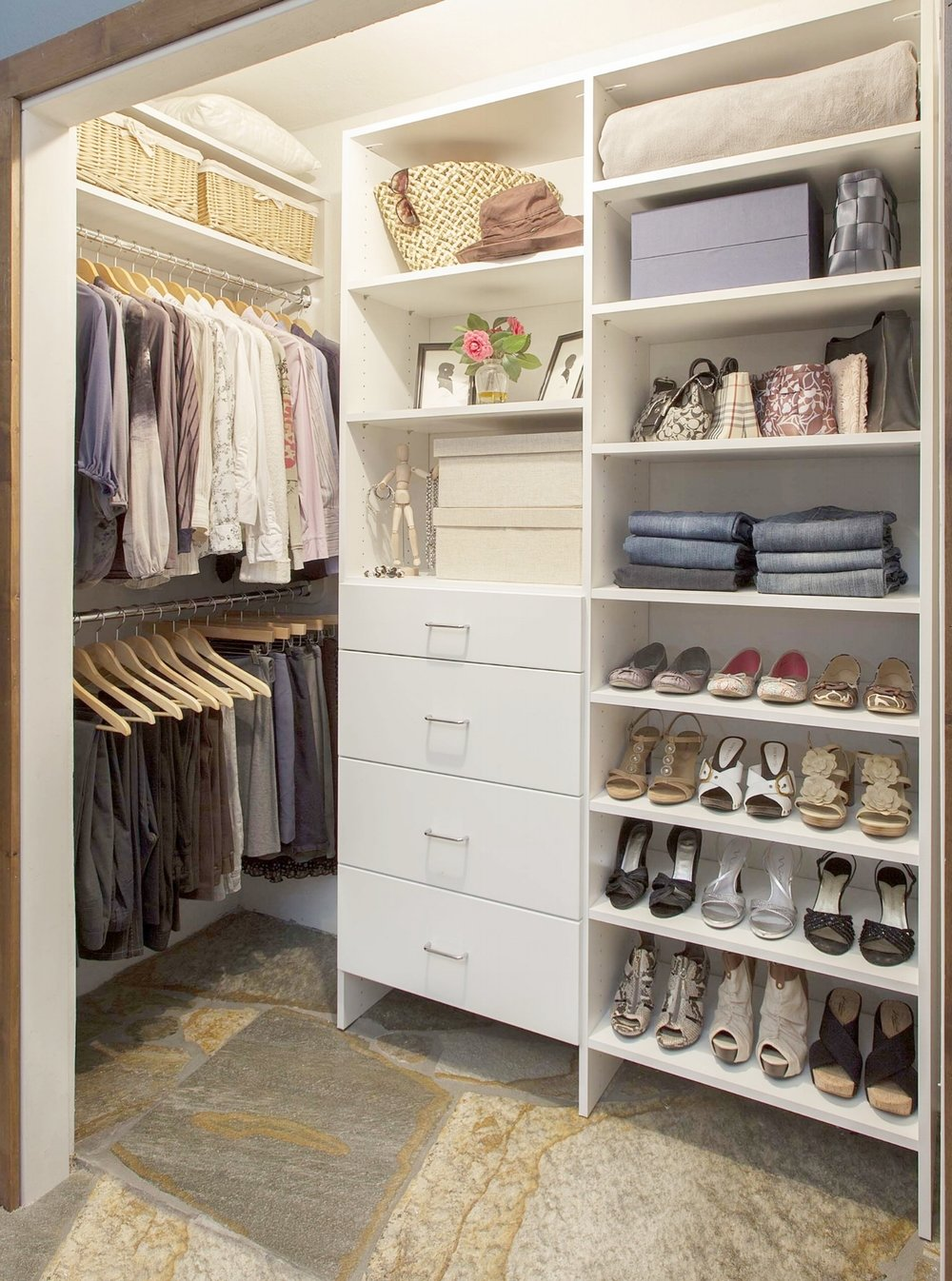 In small spaces with less flexibility, store off-season clothes in storage boxes and baskets on your closet shelves.
