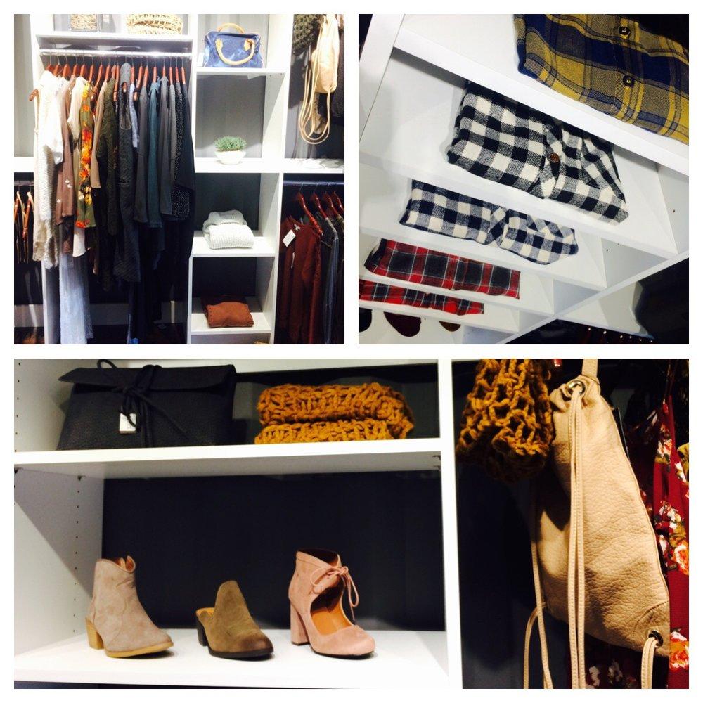 Beau&Arrow's custom closet shelving system was designed to make the boutique feel like a dream closet.