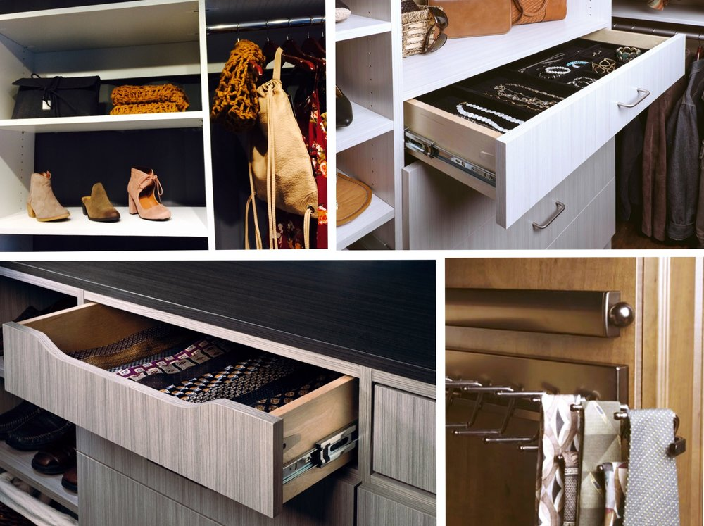Custom closet storage helps you organize and declutter shoes, ties, jewelry, handbags and other accessories.