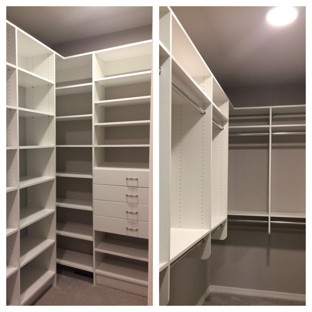 Custom closet lighting and custom closet shelving system, South Tulsa