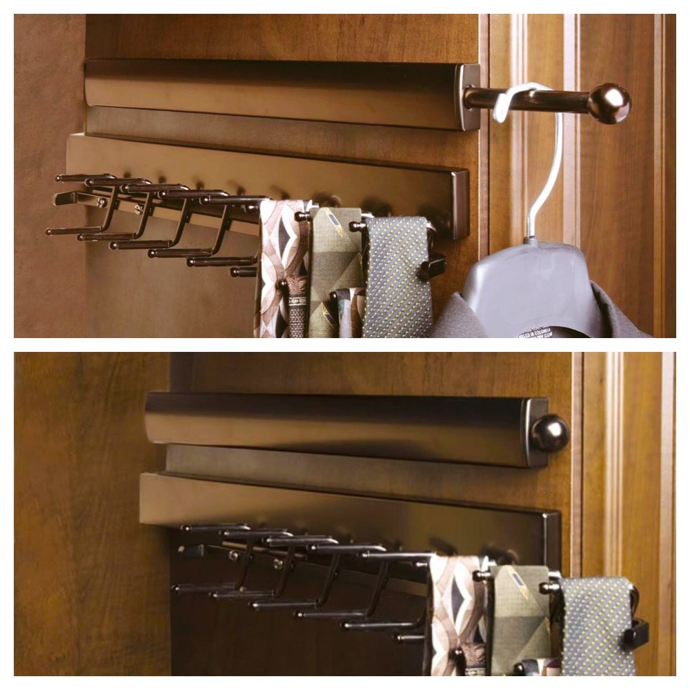 The closet valet rod telescopes to create temporary storage space and disappears when you want it to.  Call Closets of Tulsa  today for a FREE consultation and 3-D closet design:  918.609.0214