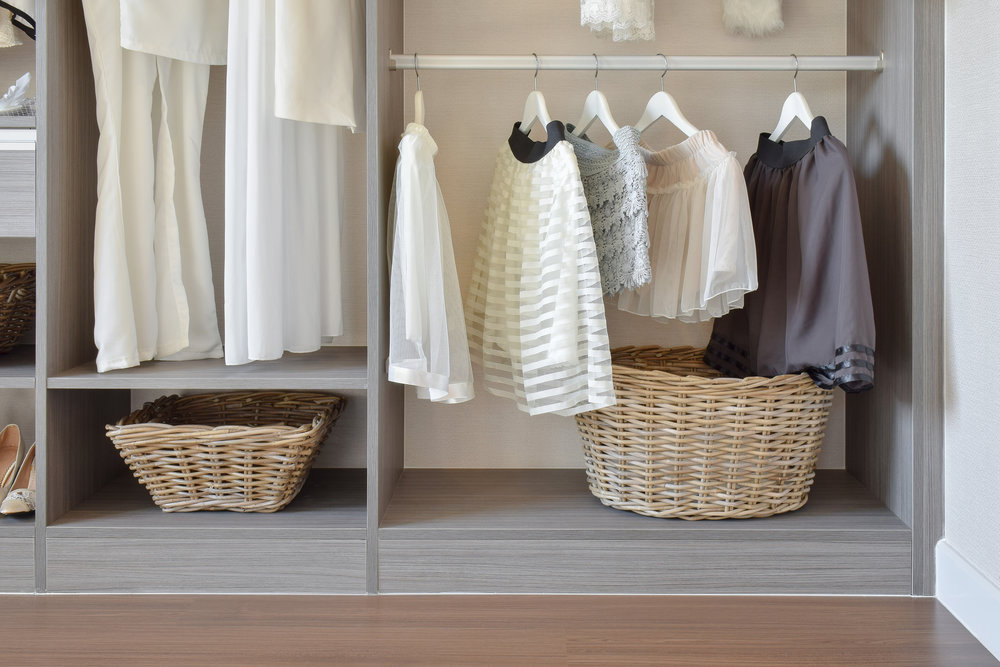 A breakup basket is an essential tool for a well-edited closet.  Call Closets of Tulsa  today for your FREE consultation and 3-D closet design:  918.609.0214