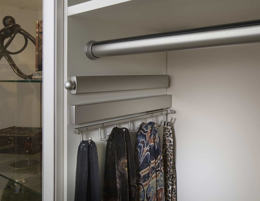 Satin Nickel Valet Rod-Hanging Rod-Belt Rack with Scarves.jpg