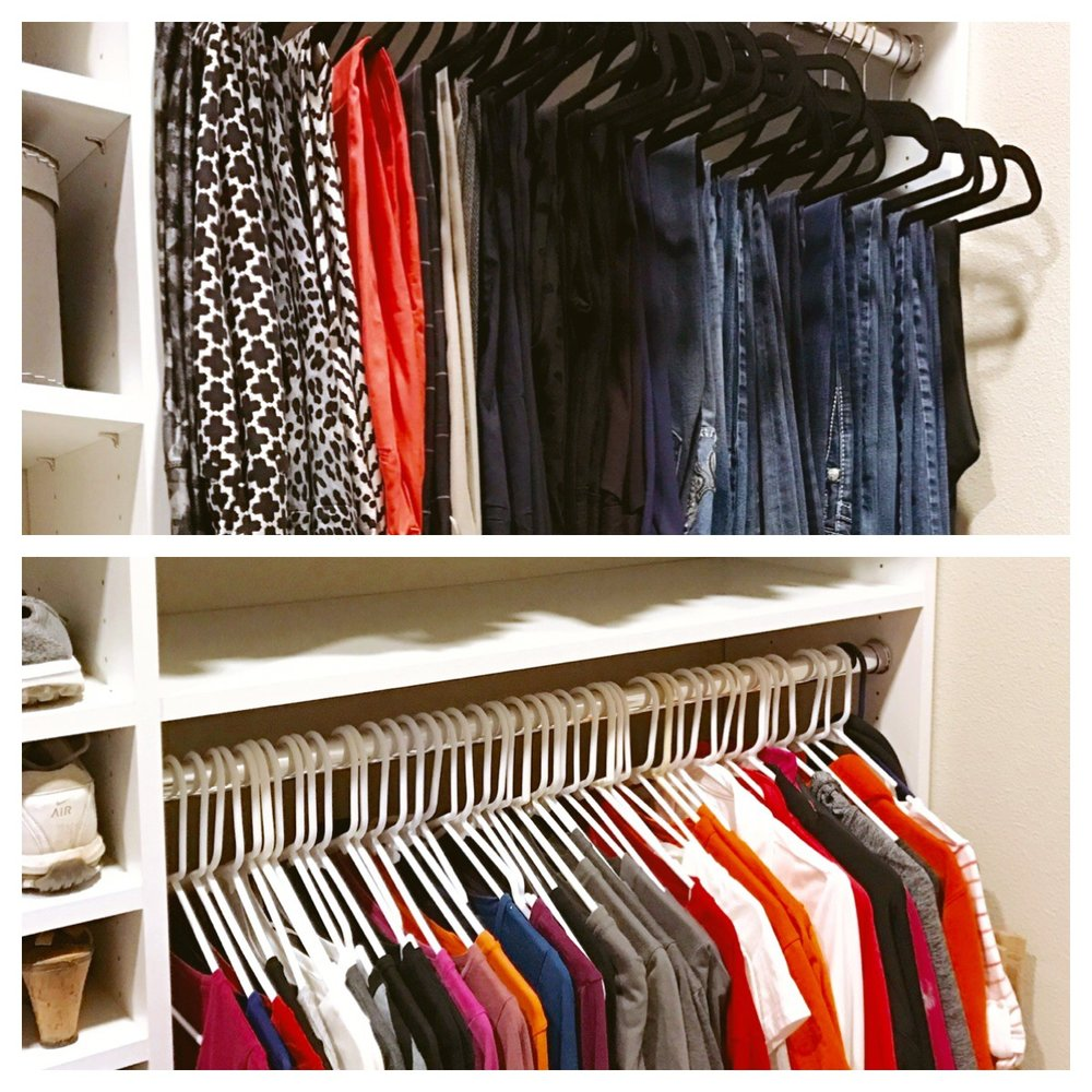 Felt hangers keep jeans and slacks pressed and organized. Plastic hangers are an easy way to store T-shirts and other casual clothes.  Call Closets of Tulsa  today for a FREE consultation and 3-D closet design:  918.609.0214
