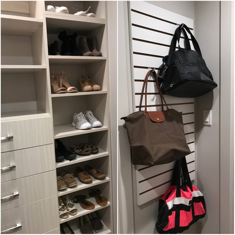 Quality closet storage can make all the difference in keeping kids and teens organized. This custom closet shelving, shoe rack and slatwall was designed for a student at Bishop Kelley High School.