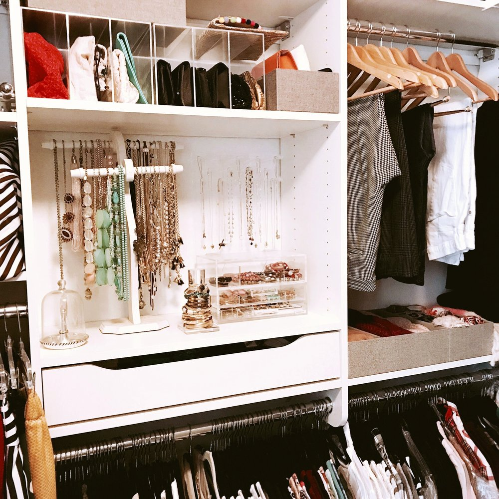 This client has a lined jewelry drawer to keep small jewelry and accessories organized in her custom closet.