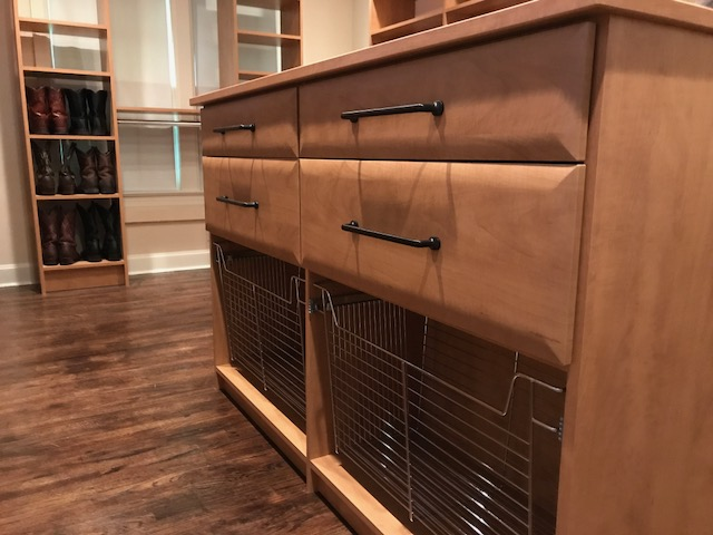 These clients selected upgraded cabinet finish, hardware and drawer faces to be sure they'd love their custom closet long-term.