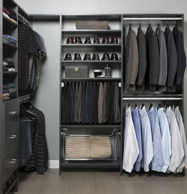 Mens Custom Closet With Charcoal Grey Shelves and Shoe Rack