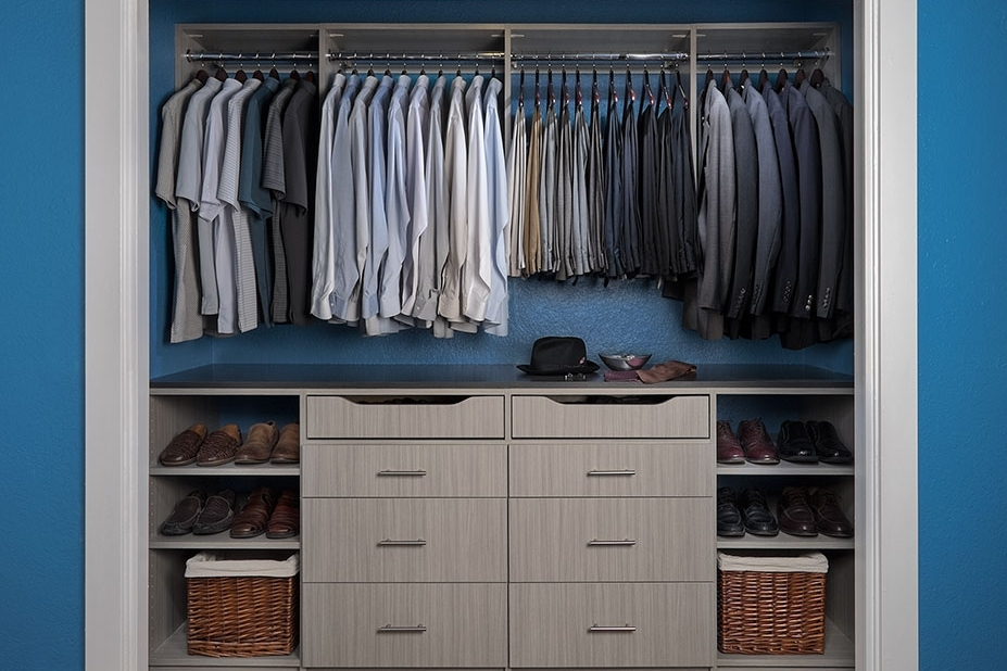 Small closet? Maximize clothes storage and convenience with under-counter shoe racks and drawers.