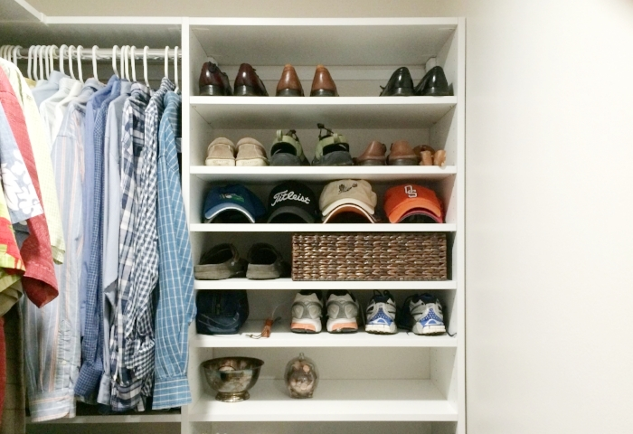 Even the most basic custom closet shelving can make mornings easier and keep organization on track & Menu0027s closet inspiration: Shoe racks and hat storage u2014 Closets of Tulsa