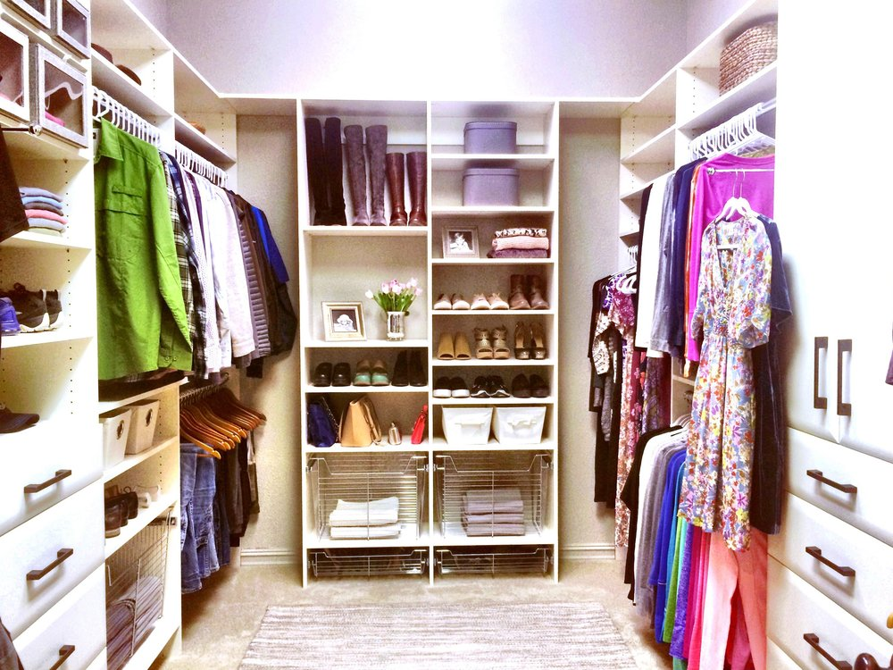Walk In Closet Design with White Closet Shelving by Closets of Tulsa