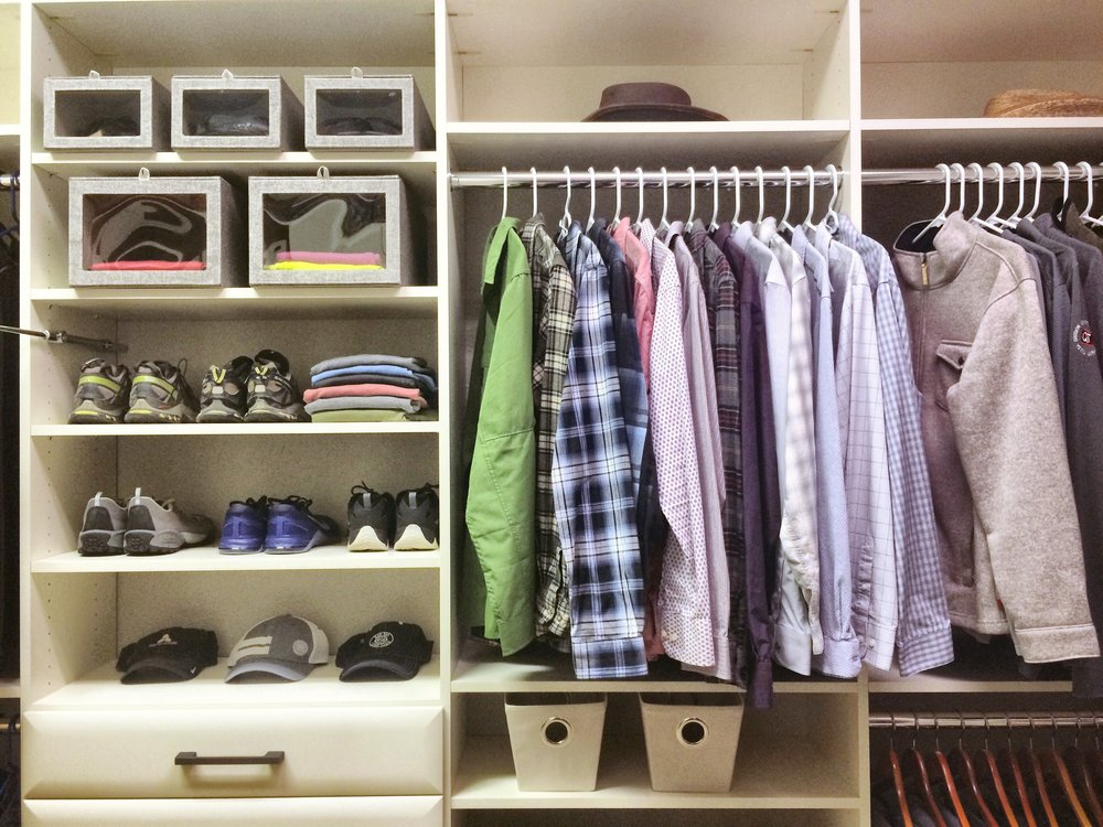 """His"" side of the custom closet has flexible, convenient storage that makes it easy to stay organized.  Call Closets of Tulsa  today for a FREE consultation and 3-D closet design:  918.609.0214"
