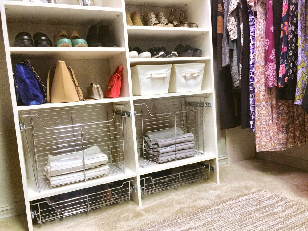Custom Closet Shoe Rack and Wire Hanging Baskets for Walk In Closet by Closets of Tulsa