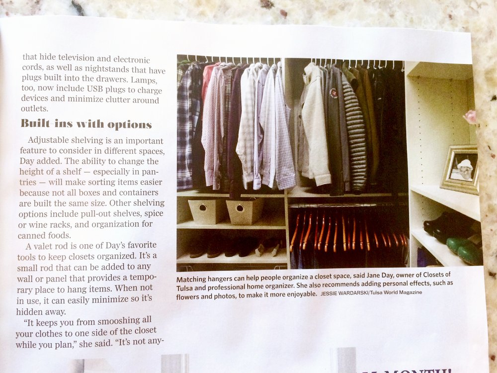 Here's the men's side of Closets of Tulsa's master closet install, featured in the winter issue of Tulsa World Magazine.  Call Closets of Tulsa  today for a FREE consultation and 3-D closet design:  918.609.0214