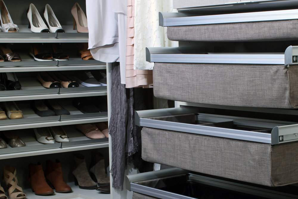 Closet drawers by TAG Hardware come standard with soft close drawer slides.  Call Closets of Tulsa  now for your FREE consultation and 3-D closet design:  918.609.0214