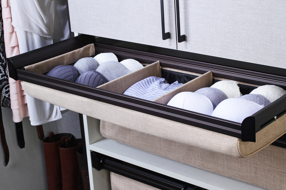 Upholstered Closet Drawer by TAG Hardware for Closets of Tulsa