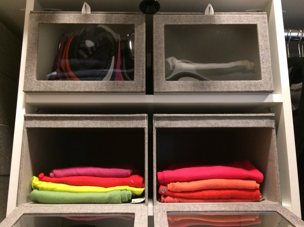 Quality storage boxes add flexible structure to your closet organizer.  Call Closets of Tulsa  now for your FREE consultation and 3-D closet design:  918.609.0214