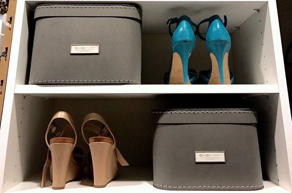 Grey Closet Storage Boxes and Shoe Rack