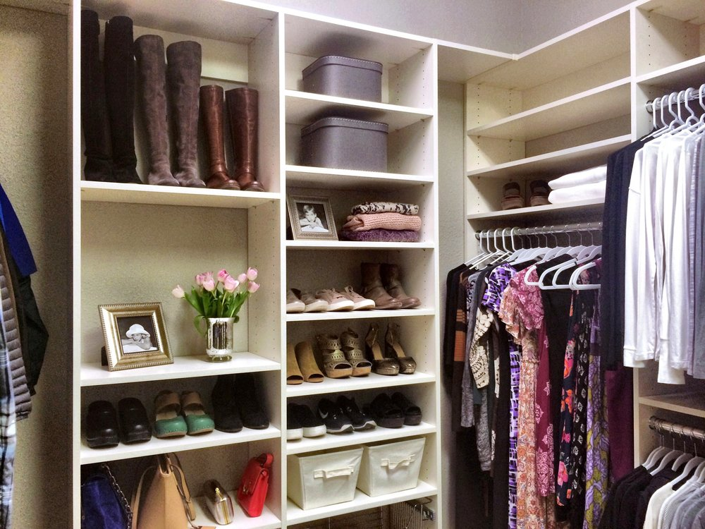 Custom Closet Organizer with Storage Boxes and Shoe Rack by Closets of Tulsa