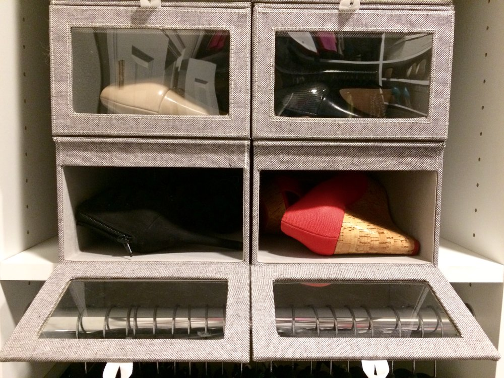Use quality storage boxes to keep shoes clean and organized on your closet shoe rack.  Call Closets of Tulsa  now for your FREE consultation and 3-D closet design:  918.609.0214