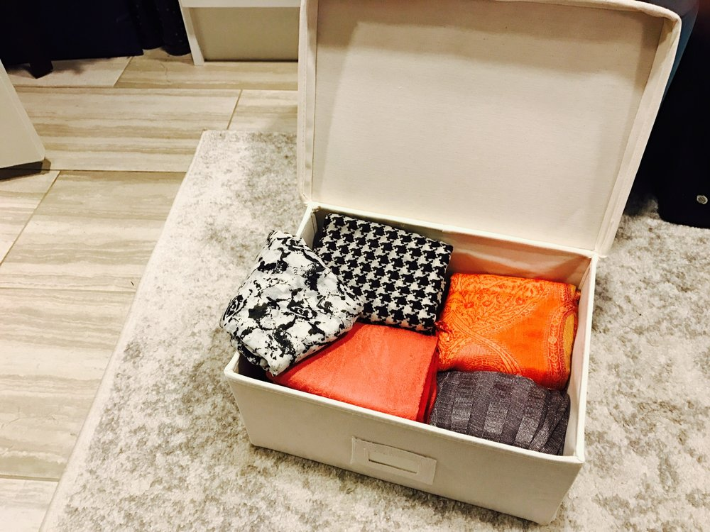 Upholstered Closet Storage Box for Scarves