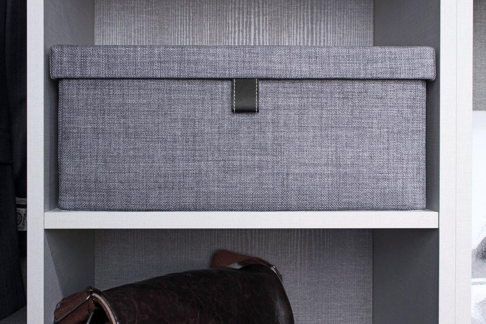 Grey Upholstered Storage Box for Custom Closet Organizer by Closets of Tulsa