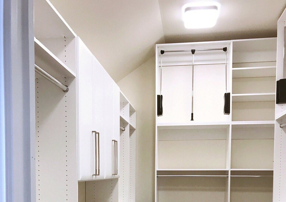 White Custom Closet Organizer for Tall Ceiling by Closets of Tulsa