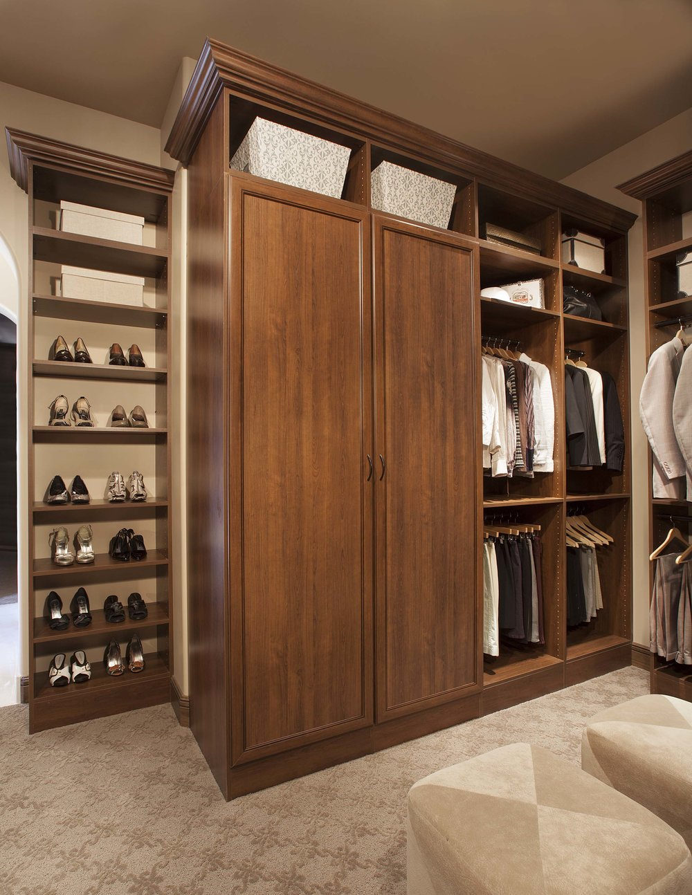 Wood Walk In Closet Organizer with Armoire, Custom Shoe Rack and Crown Molding by Closets of Tulsa