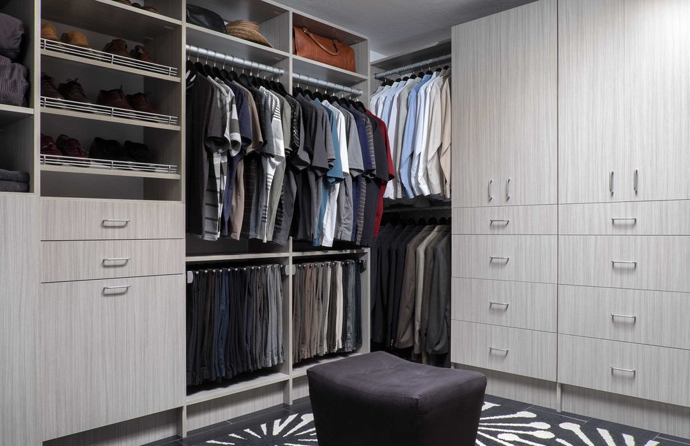 As you visualize your custom closet design, plan for more drawers than you think you'll need. Items like jewelry, socks, belts, undergarments, flip-flops, swimsuits, scarves and other small accessories stay effortlessly organized when they each have a place in your closet. Storing smaller items in drawers also keeps them from cluttering your beautiful new space.